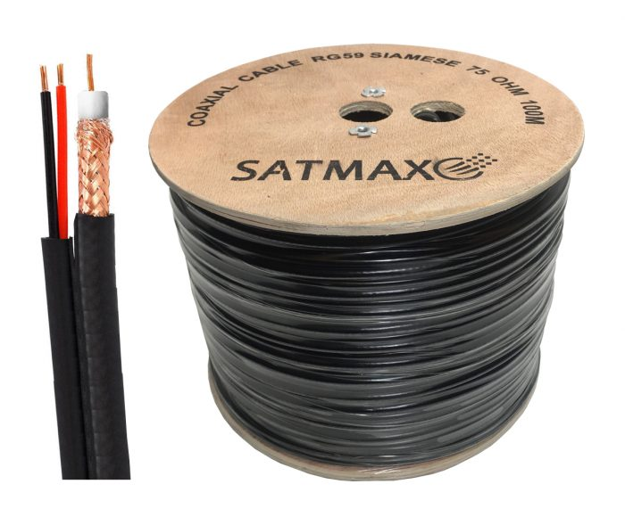 Satmax 100m Black Siamese RG59 Video + 2 Core Power CCTV Cable-0