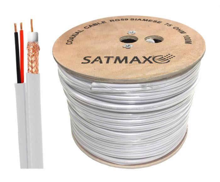 Satmax 100m White Siamese RG59 Video + 2 Core Power CCTV Cable-0