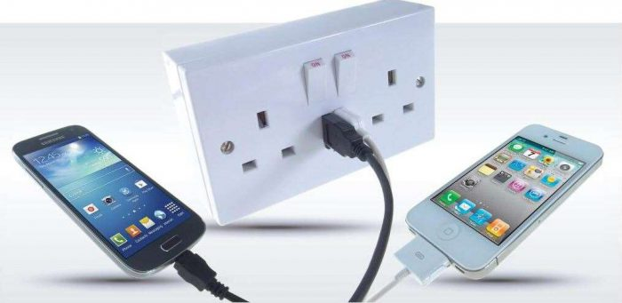 DRX 2-Way Double Gang UK Plug Socket with 2x USB Charging Ports-0