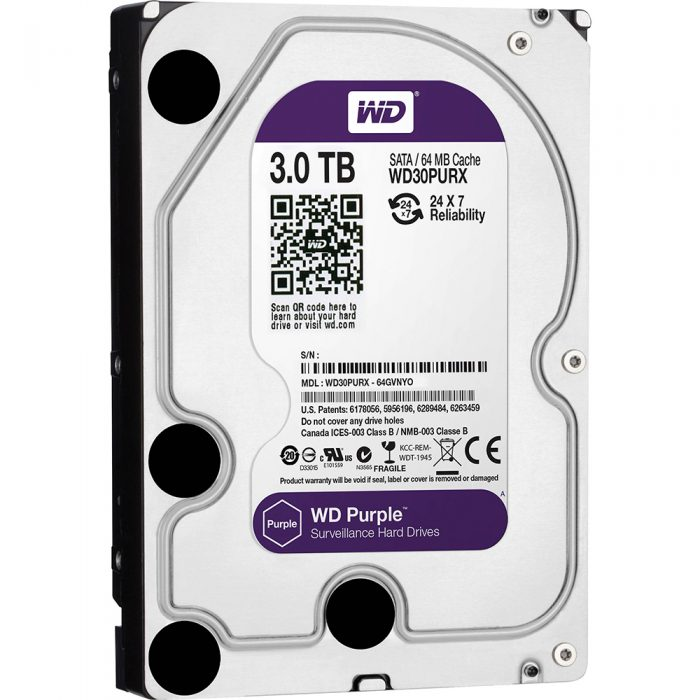 "Western Digital Purple 3TB 3.5"" Surveillance SATA III Internal Hard Drive-0"