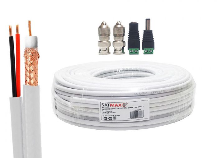 Satmax 25m White Siamese RG59 Video + 2 Core Power CCTV Cable-0