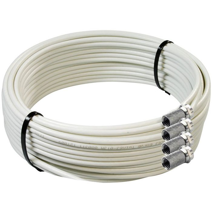 Satmax 20m White CB63R Twin Shotgun Coax Satellite Cable with 4 F-Connectors-0